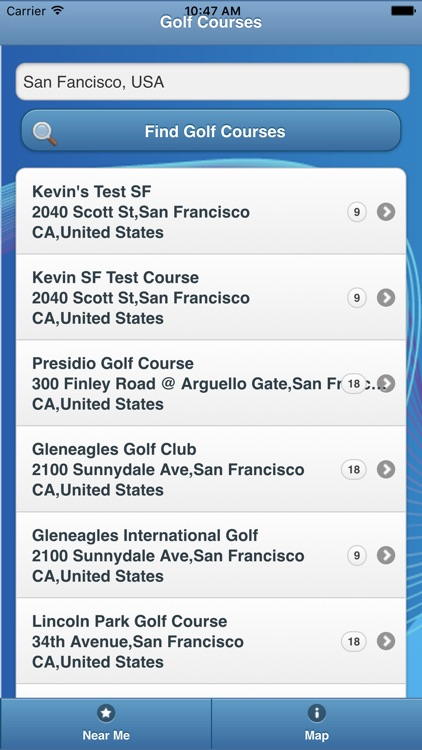 Golf Courses app