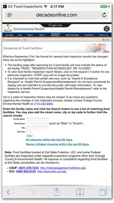 OC Food Inspections screenshot three