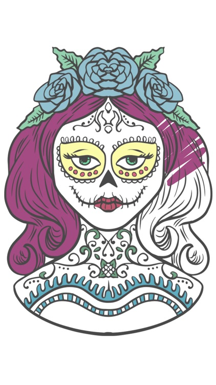 Sugar Mexican skull - Coloring book for adults screenshot-4