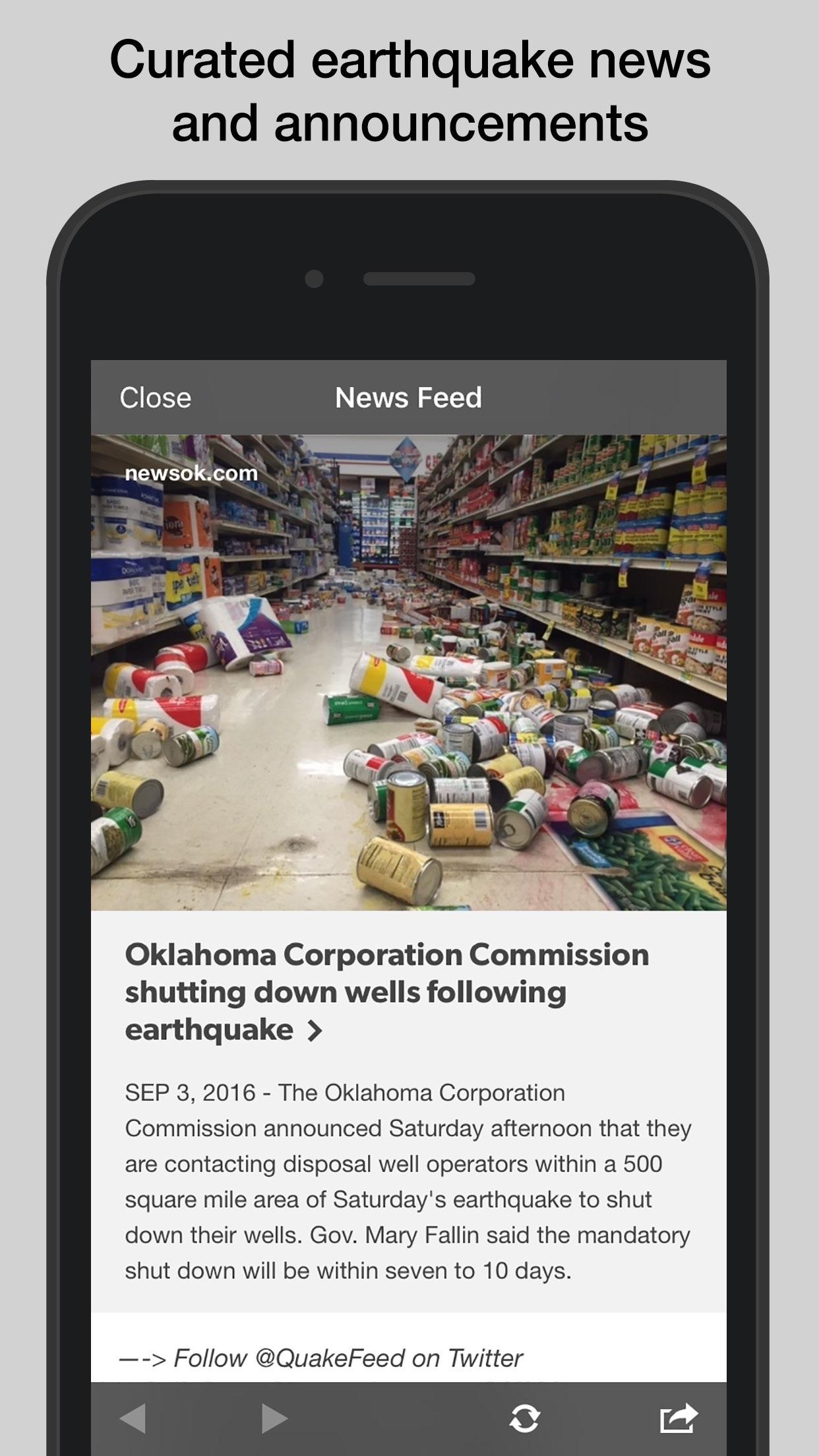 QuakeFeed Earthquake Map, Alerts, and News Screenshot