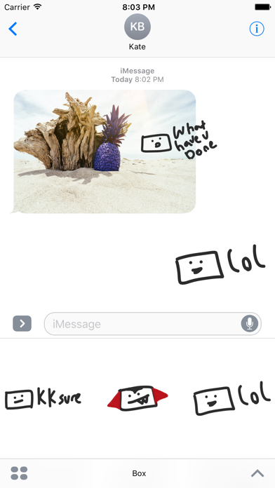 Box sticker pack funny weird stickers for iMessage screenshot one