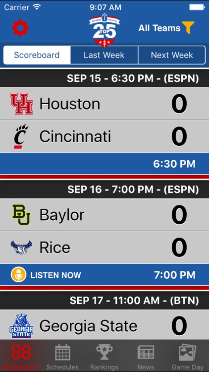 Top 25 College Football Schedules & Scores screenshot-0