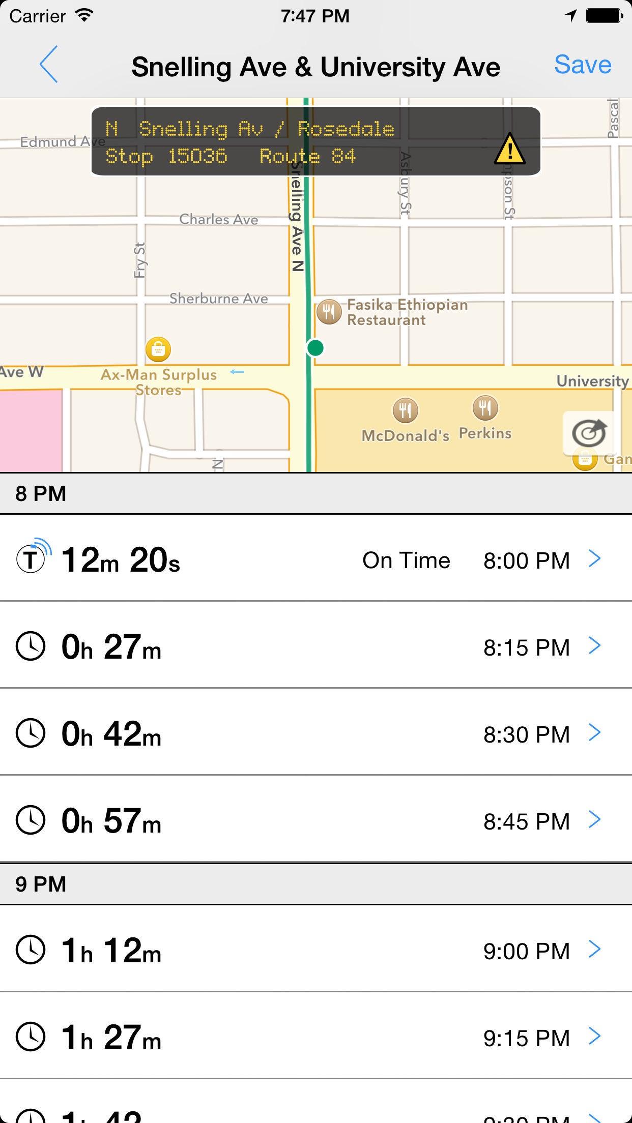 Transit Tracker - Minneapolis (Metro Transit) Screenshot