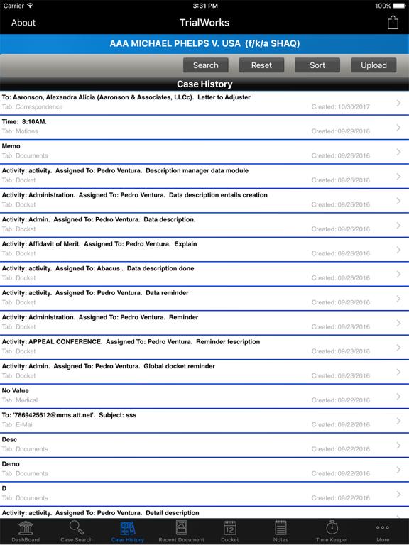 TrialWorks App screenshot
