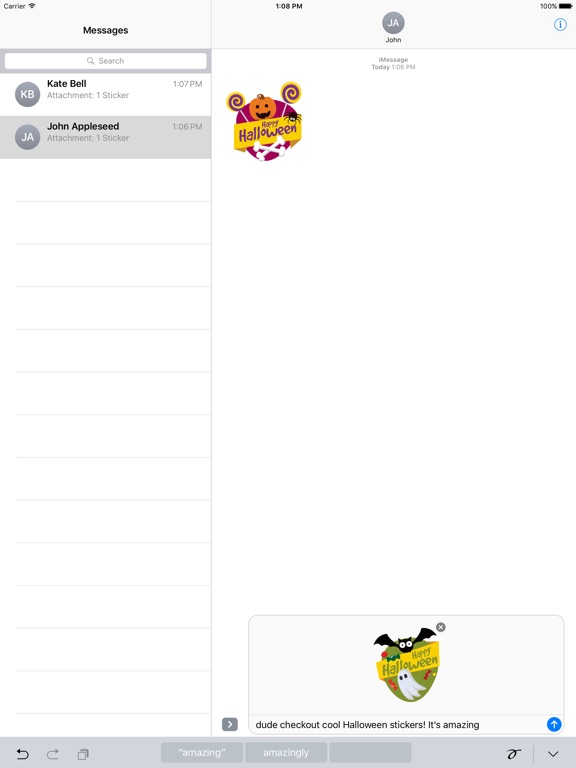 Screenshot #3 for Halloween Stickers - Animated iMessage Stickers