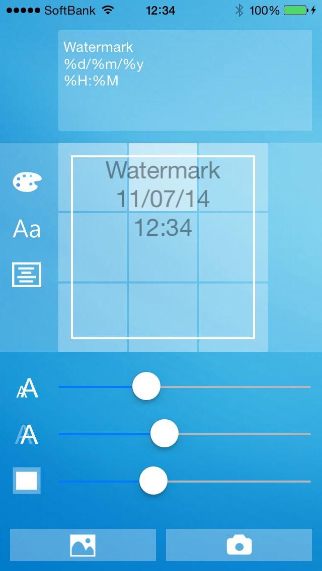 文字カメラ - 写真へ透かし文字や日付、メッセージを入れよう - ScreenShot1