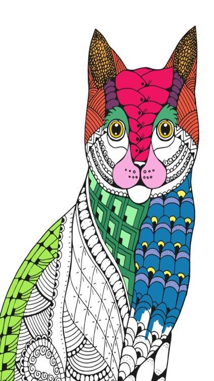 Cats & kittens - Mandalas coloring book for adults screenshot-4