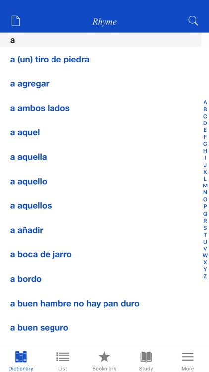 Spanish Rhyme Dictionary