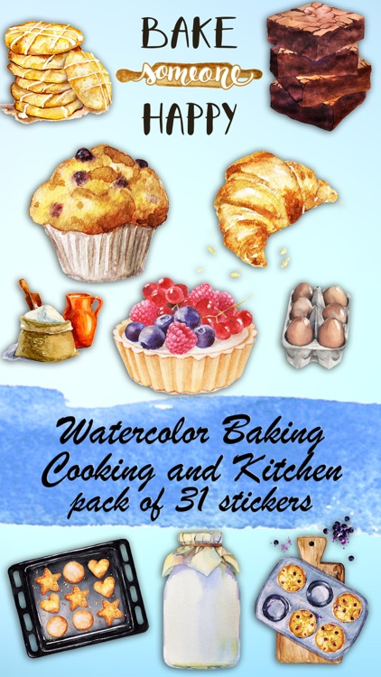Watercolor Baking Cooking and Kitchen Sticker Pack