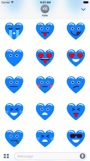 heart blue love emojis stickers for imessage on the app store