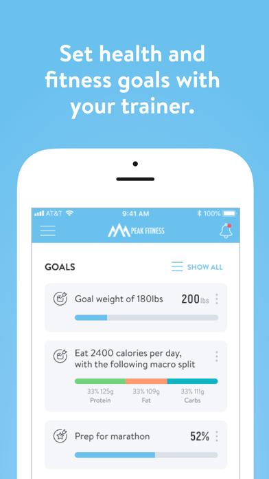 Screen Shot Peak Fitness App 2