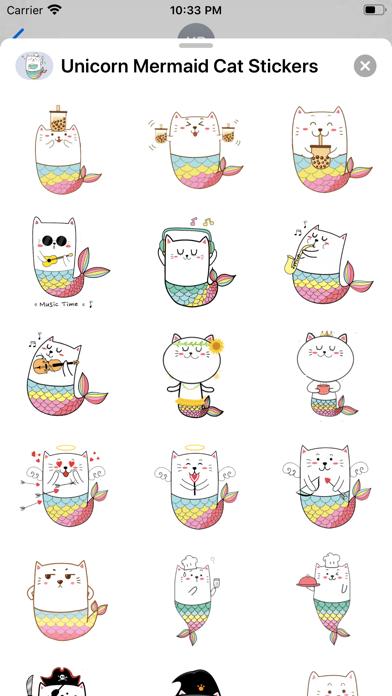 Unicorn Mermaid Cat Stickers screenshot 3