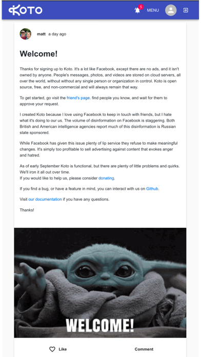 Koto Social Network Screenshot