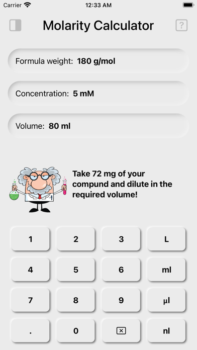 Screenshot of Dilution + App