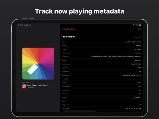 Music Info — Song Metadata Screenshots
