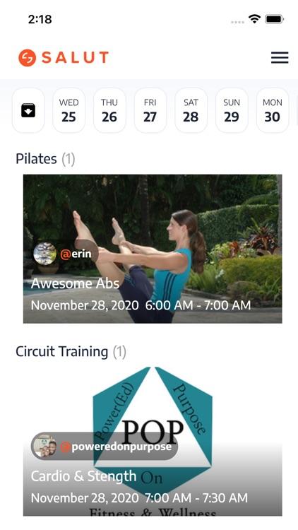 Salut: live fitness classes