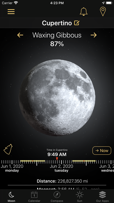 Moon Phases and Lunar Calendar Screenshot