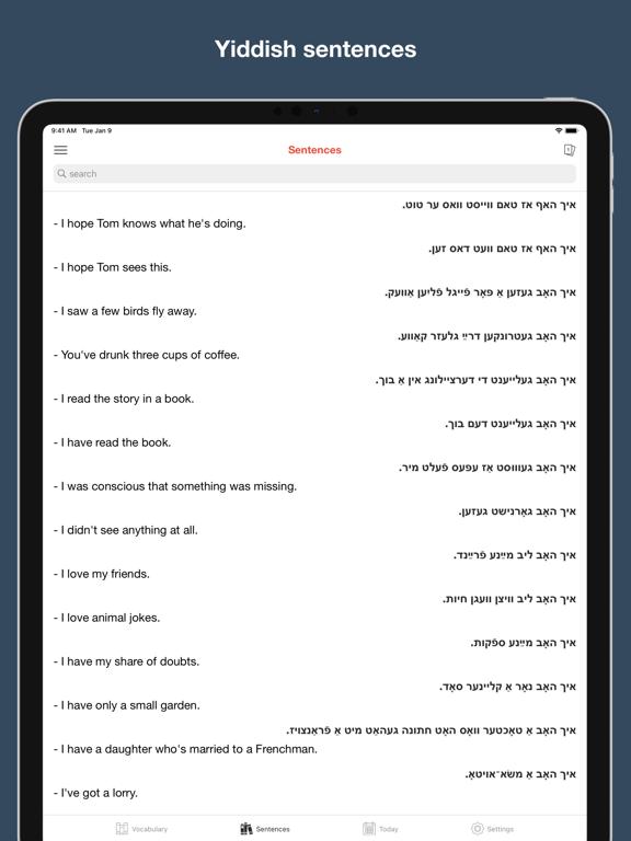 Yiddish vocabulary & sentences screenshot 15
