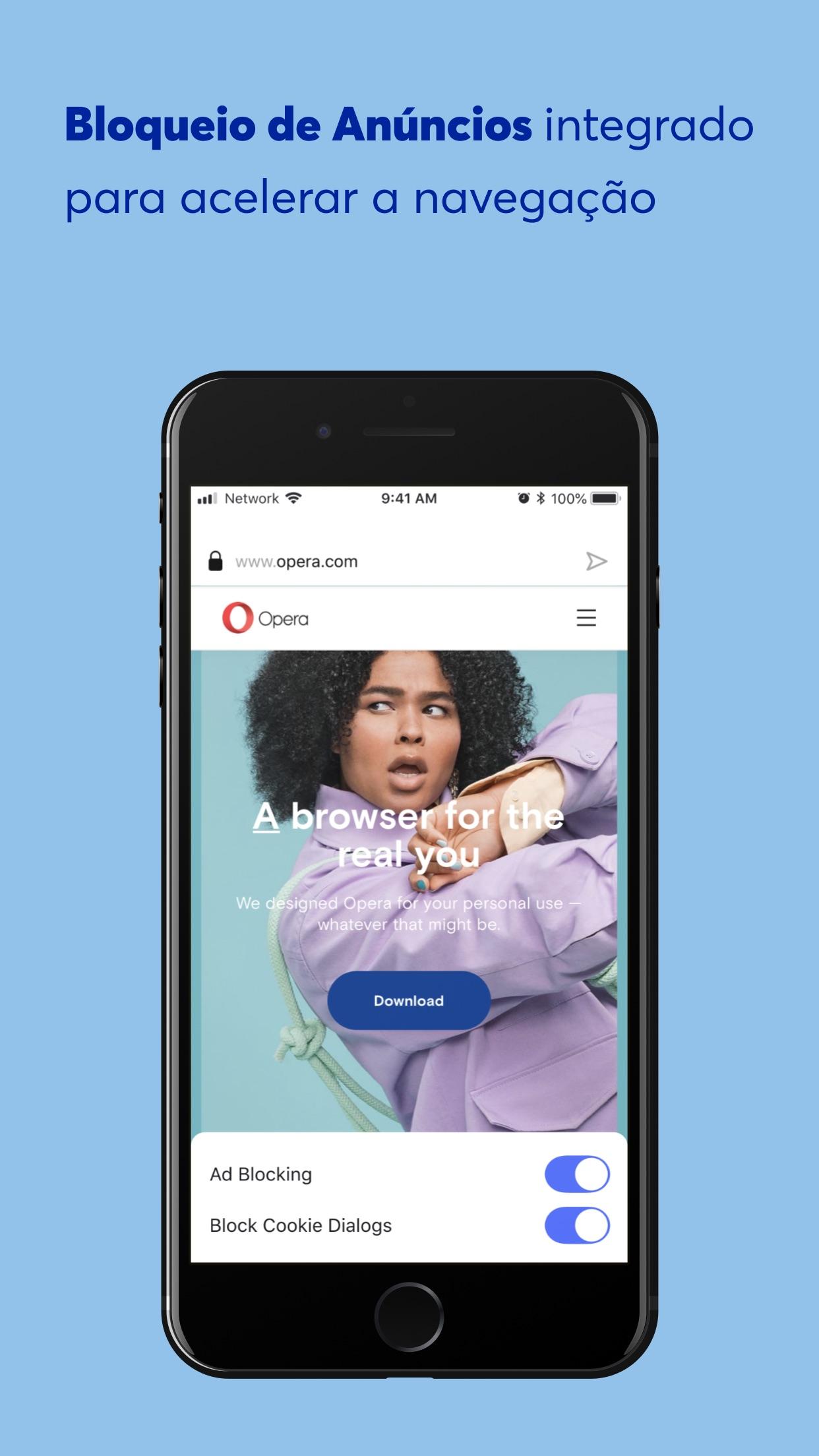 Screenshot do app Opera: rápido e privado