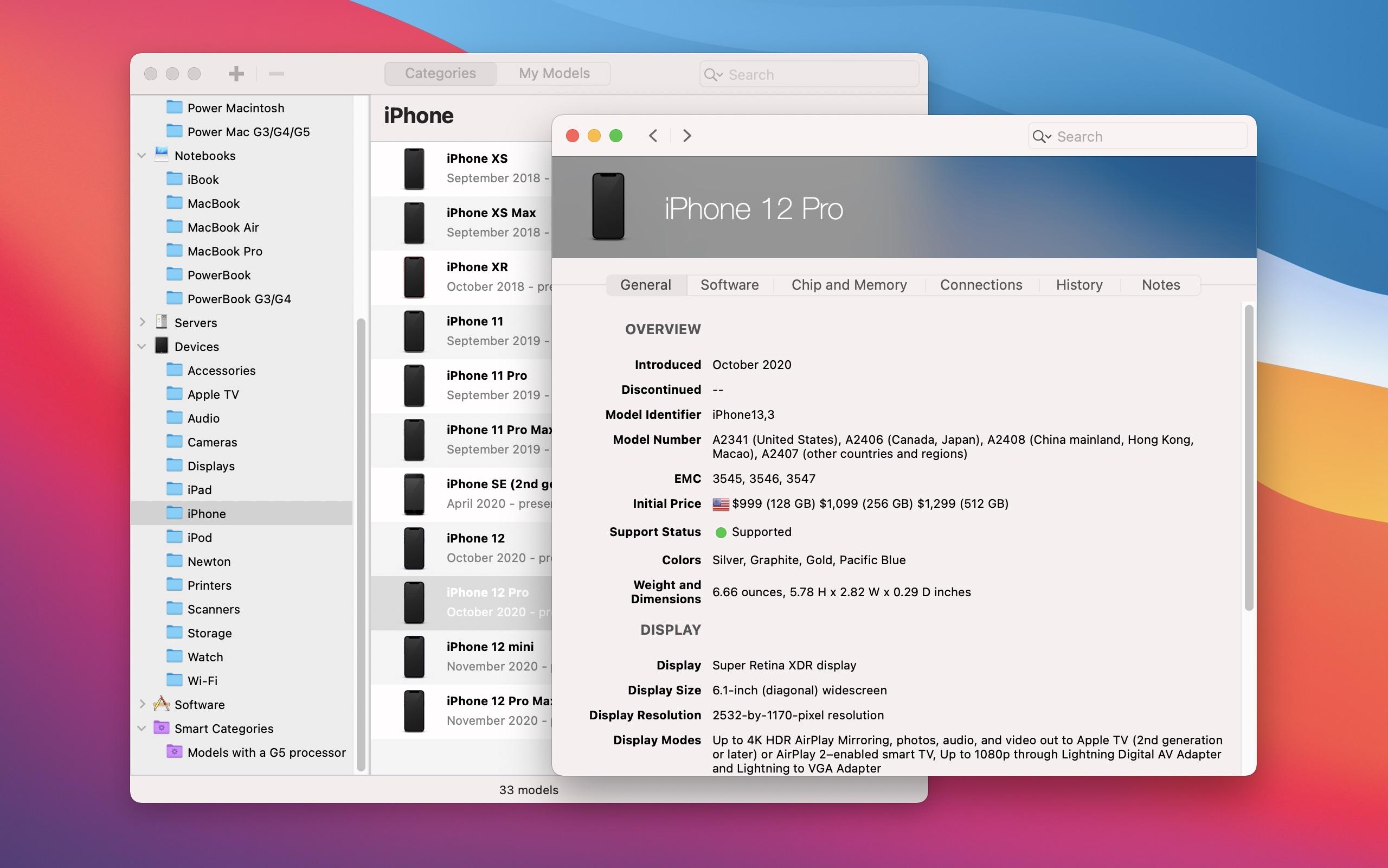 Screenshot do app Mactracker