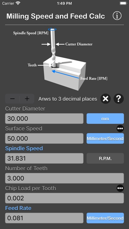 Milling Speed and Feed Calc screenshot-8