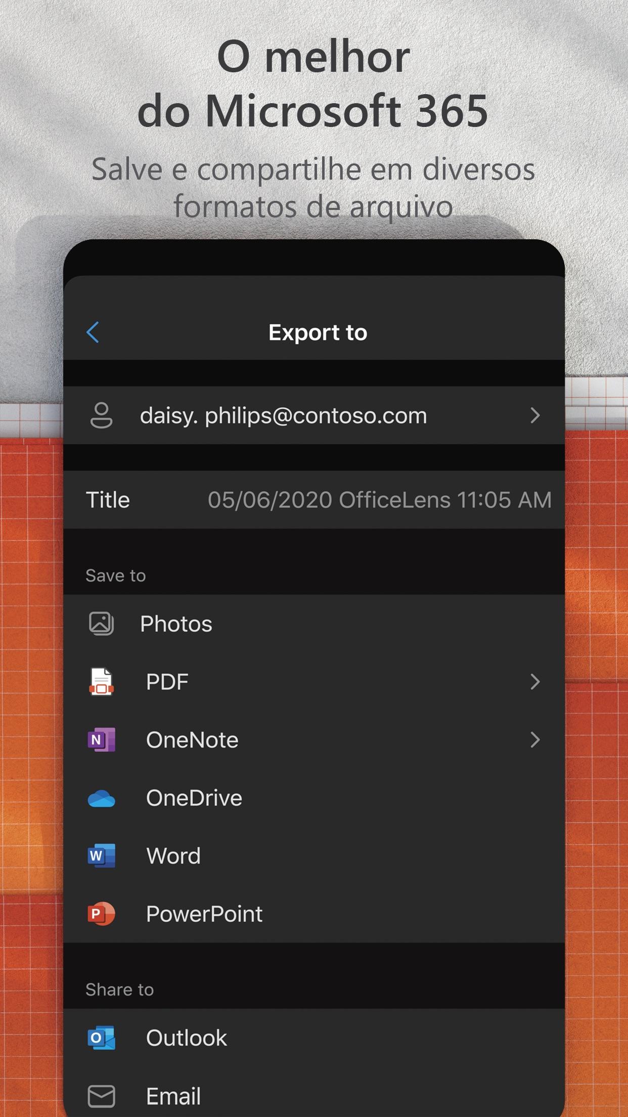 Screenshot do app Microsoft Lens: PDF Scanner