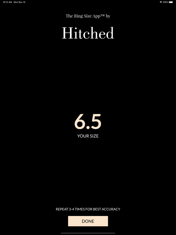 iPad Image of The Ring Size App™ by Hitched