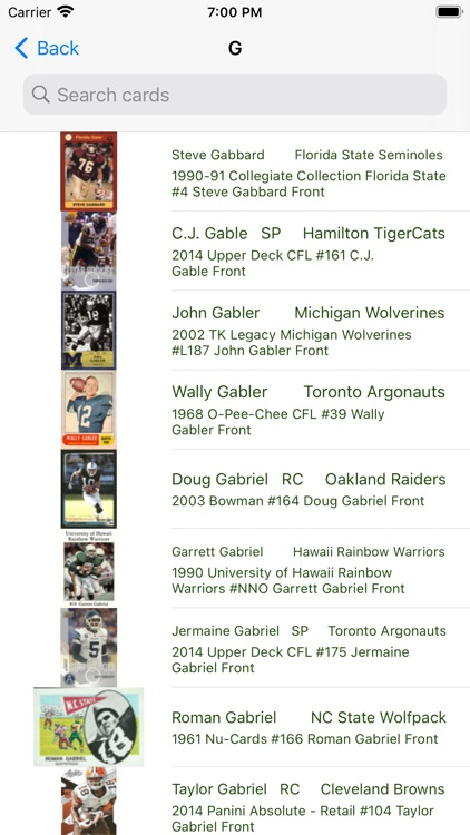 Football trading cards PRO