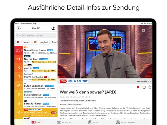 Live TV Fernsehen IP TV Screenshots