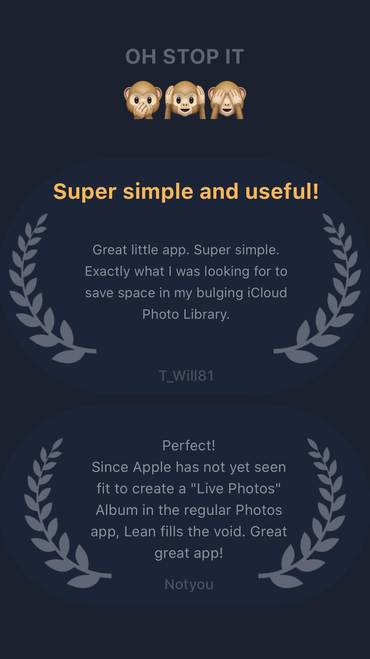 Screenshot do app Lean - Clean up Live Photos