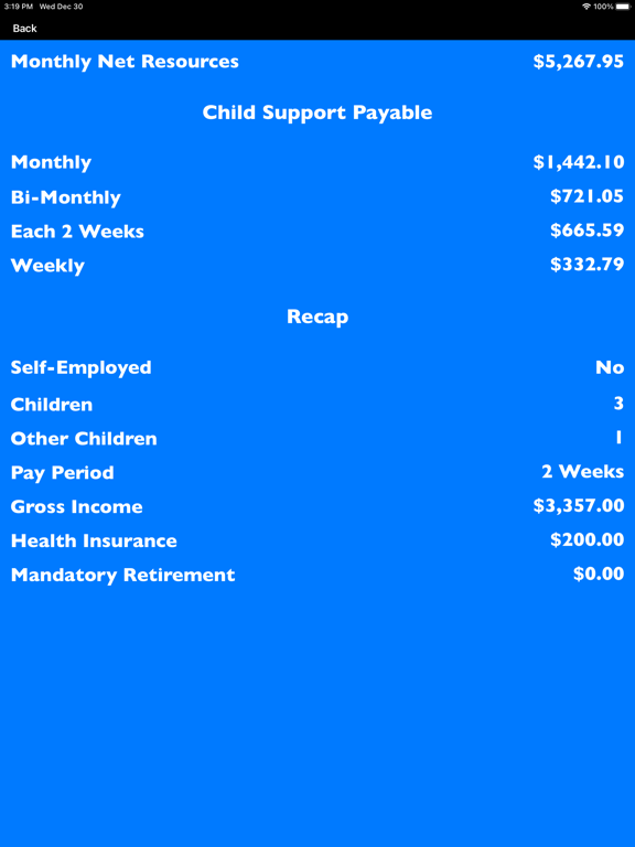 Ipad Screen Shot Texas Child Support Calc 2021 2