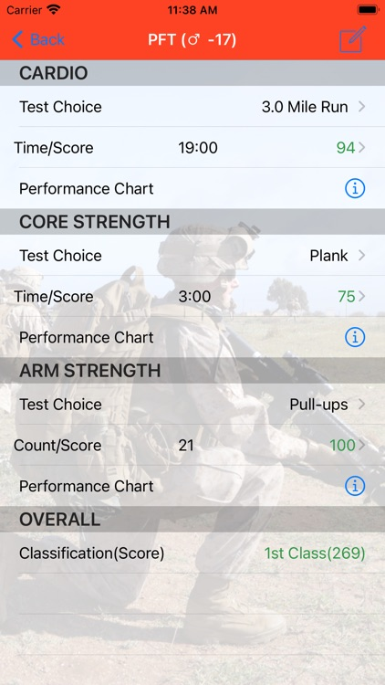Fitness Calc for Marines