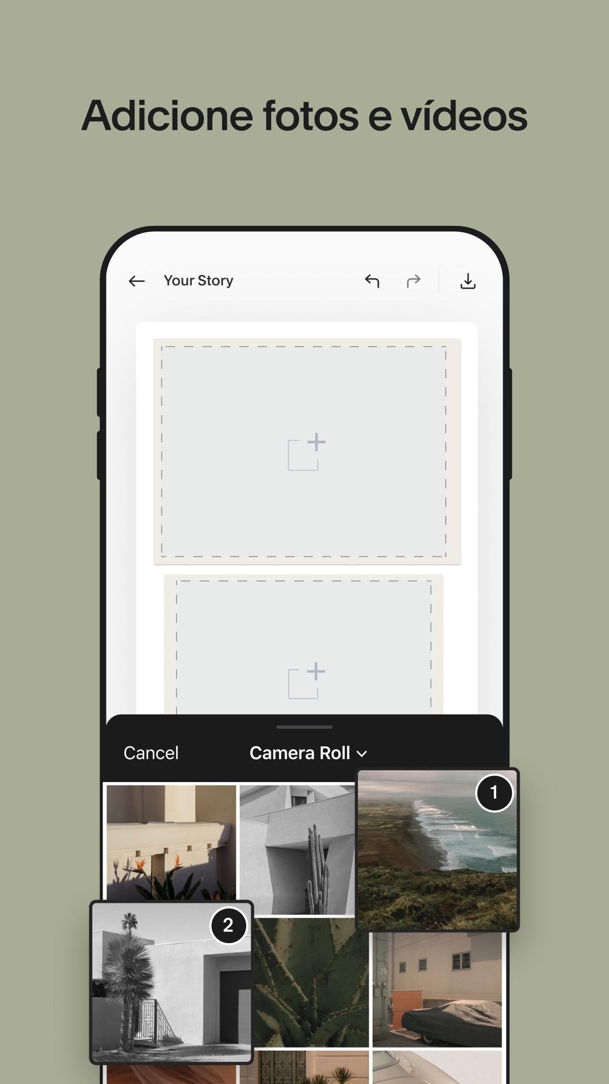 Screenshot do app Unfold — Editor de Histórias