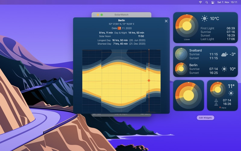 SolarWatch Daylight Widgets Screenshot