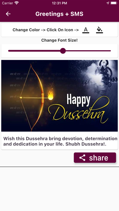 Dussehra Images Wishes Card Screenshot
