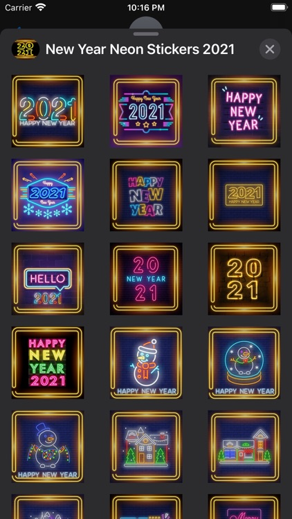 New Year Neon Stickers 2021