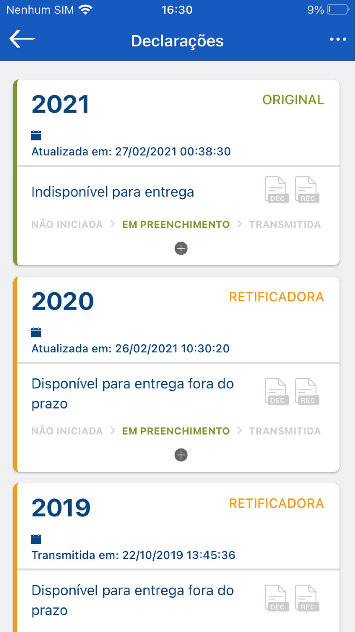 Screenshot do app Meu Imposto de Renda