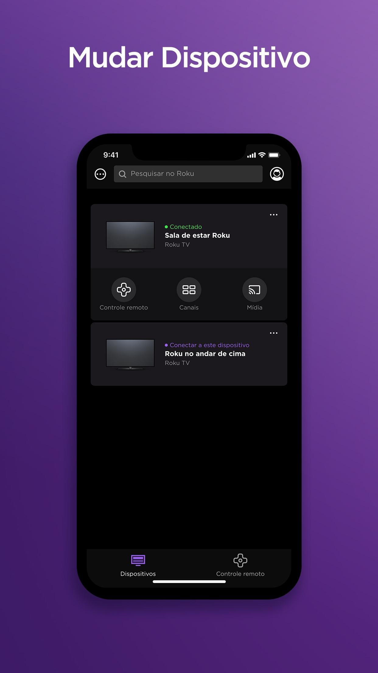 Screenshot do app Roku