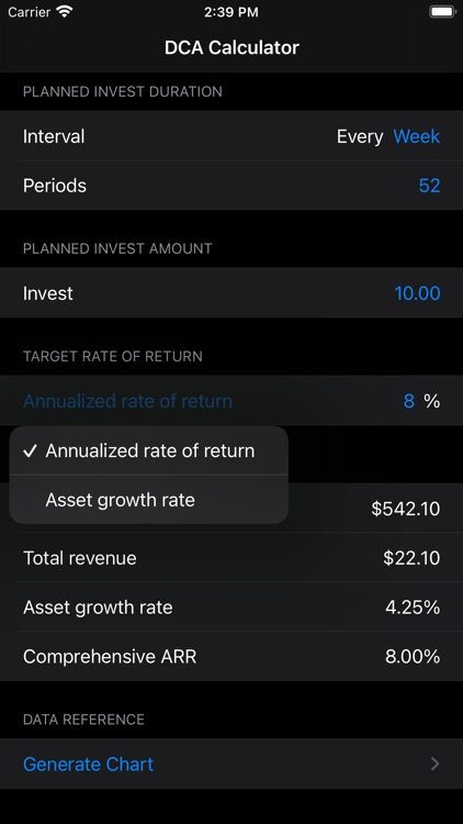 DCA Income Calculator