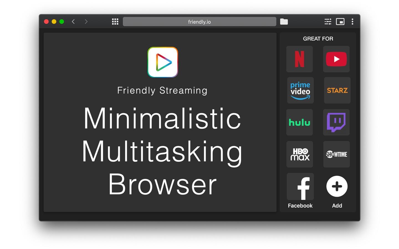 Screenshot do app Friendly Streaming Browser