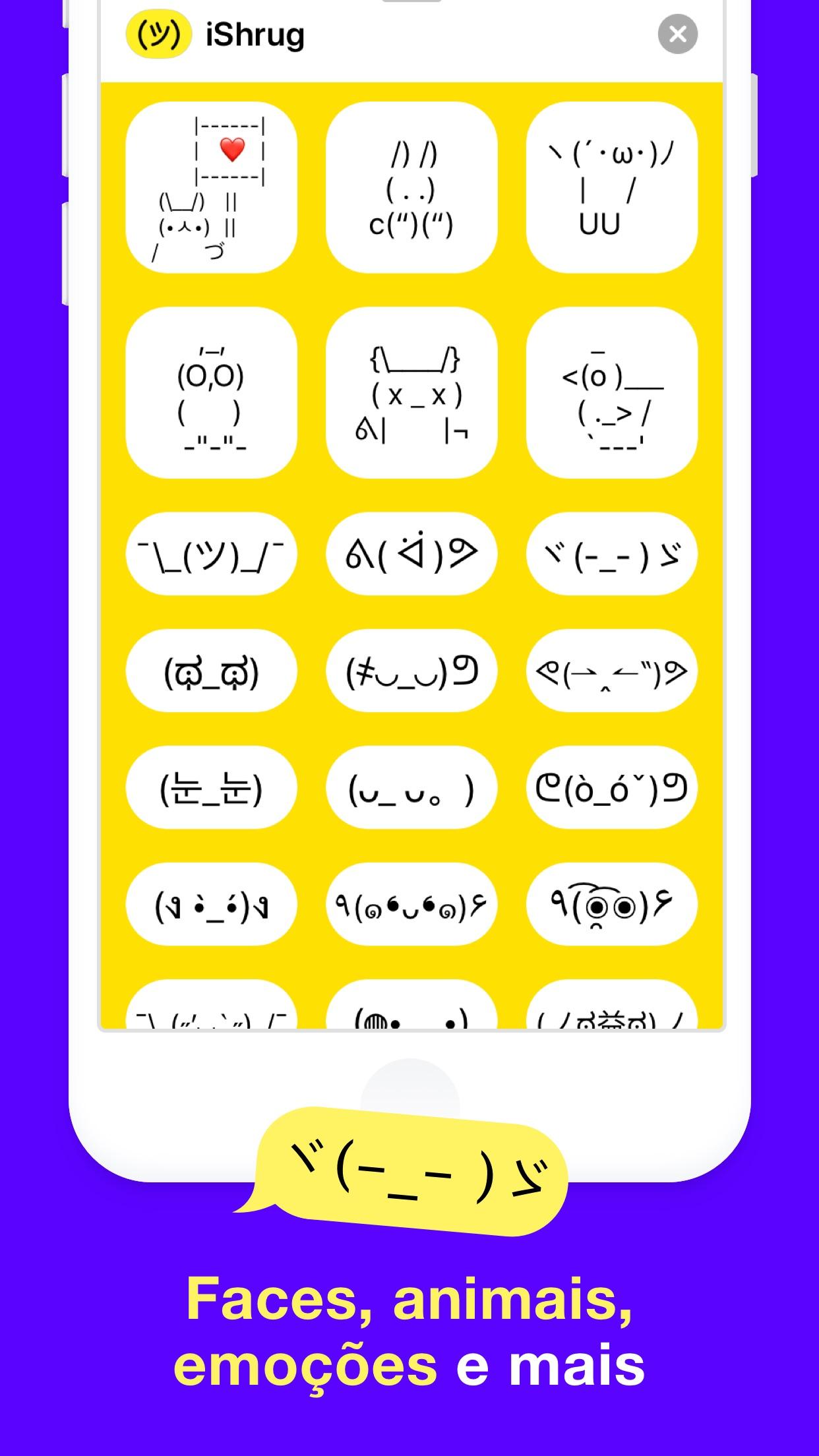 Screenshot do app iShrug: Kaomoji e Arte ASCII
