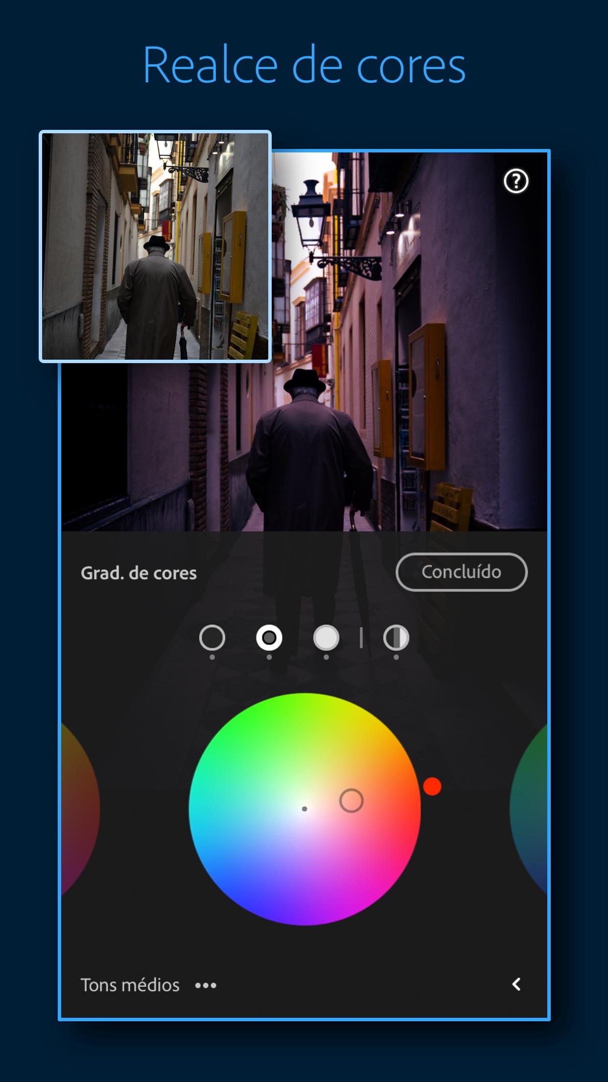 Screenshot do app Adobe Lightroom: Editar Fotos