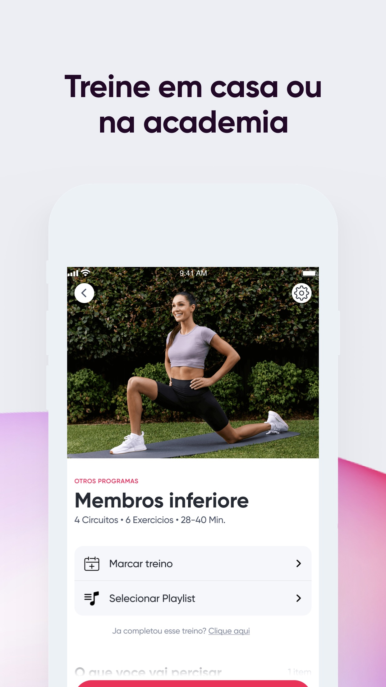 Screenshot do app Sweat: Fitness para mulheres