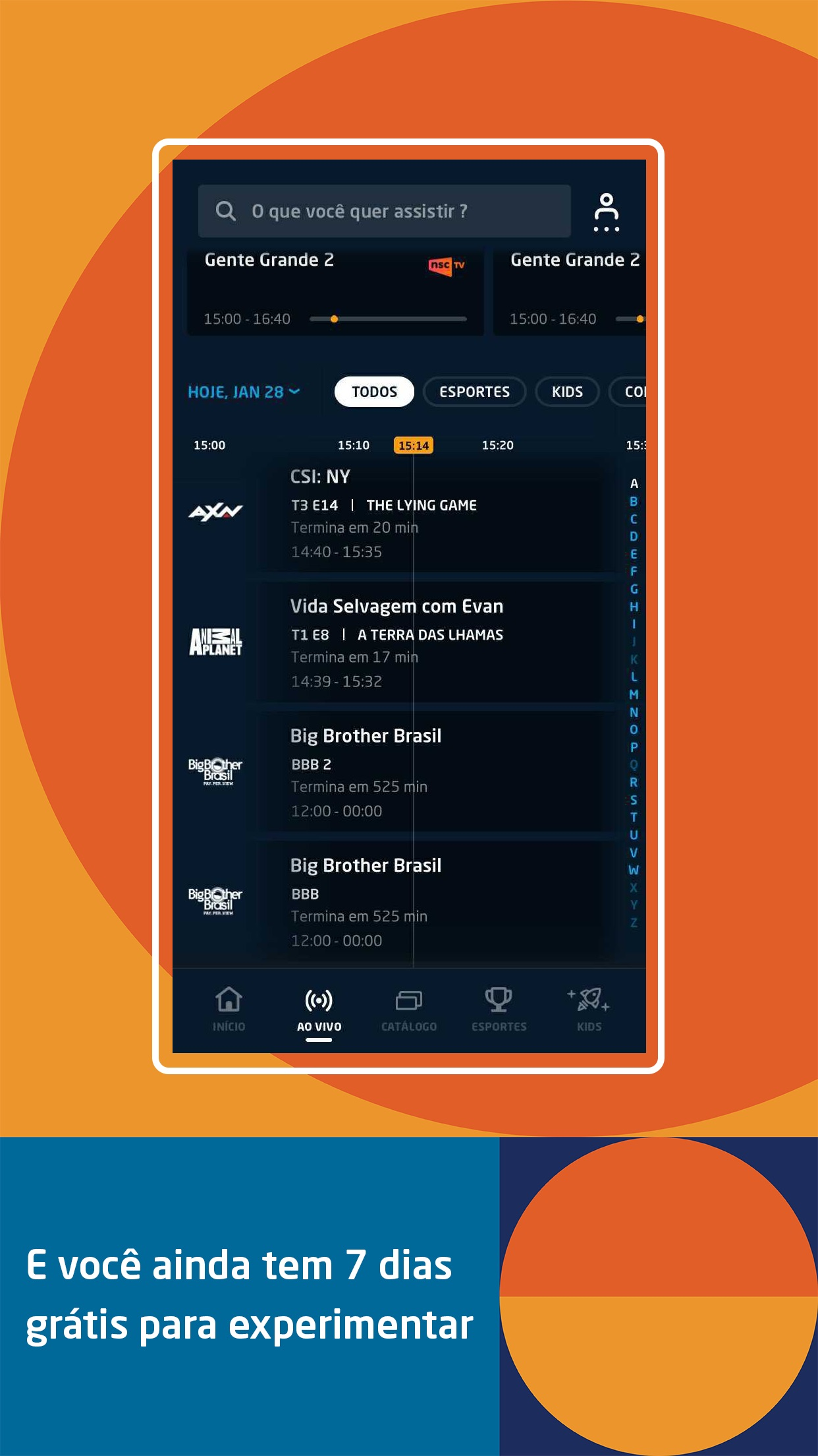 Screenshot do app DIRECTV GO BR
