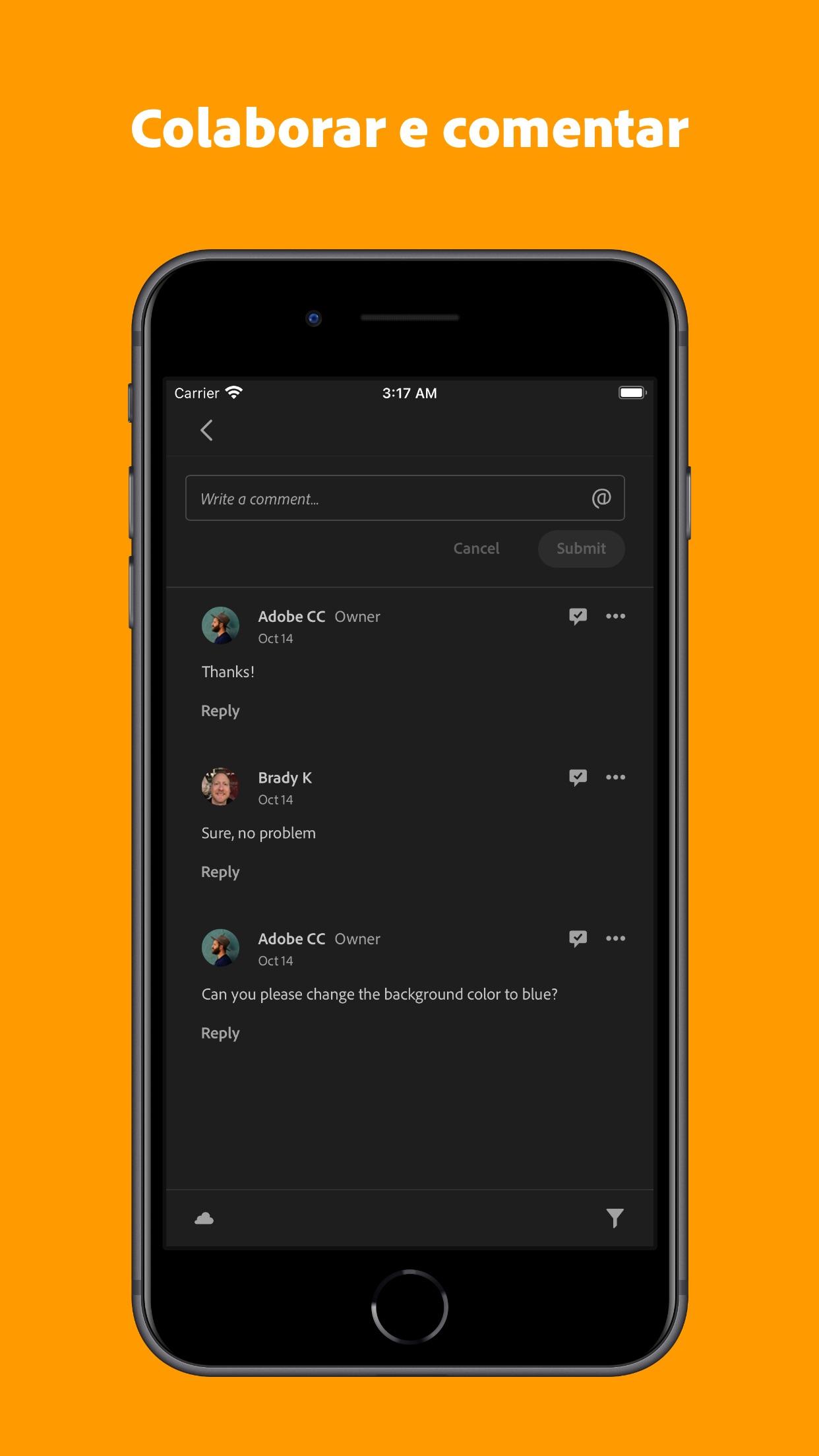 Screenshot do app Adobe Creative Cloud