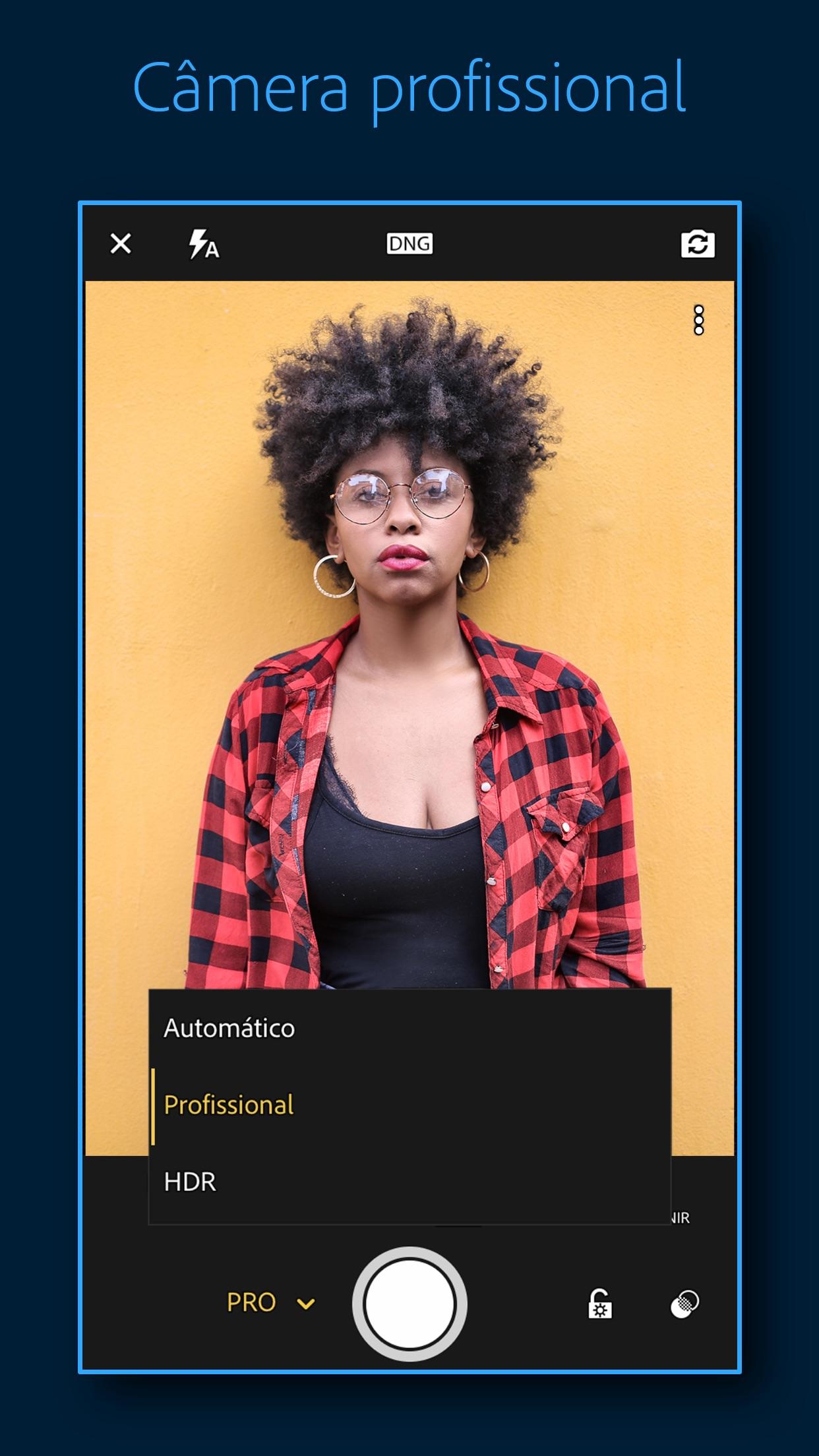 Screenshot do app Adobe Lightroom: Foto Editor